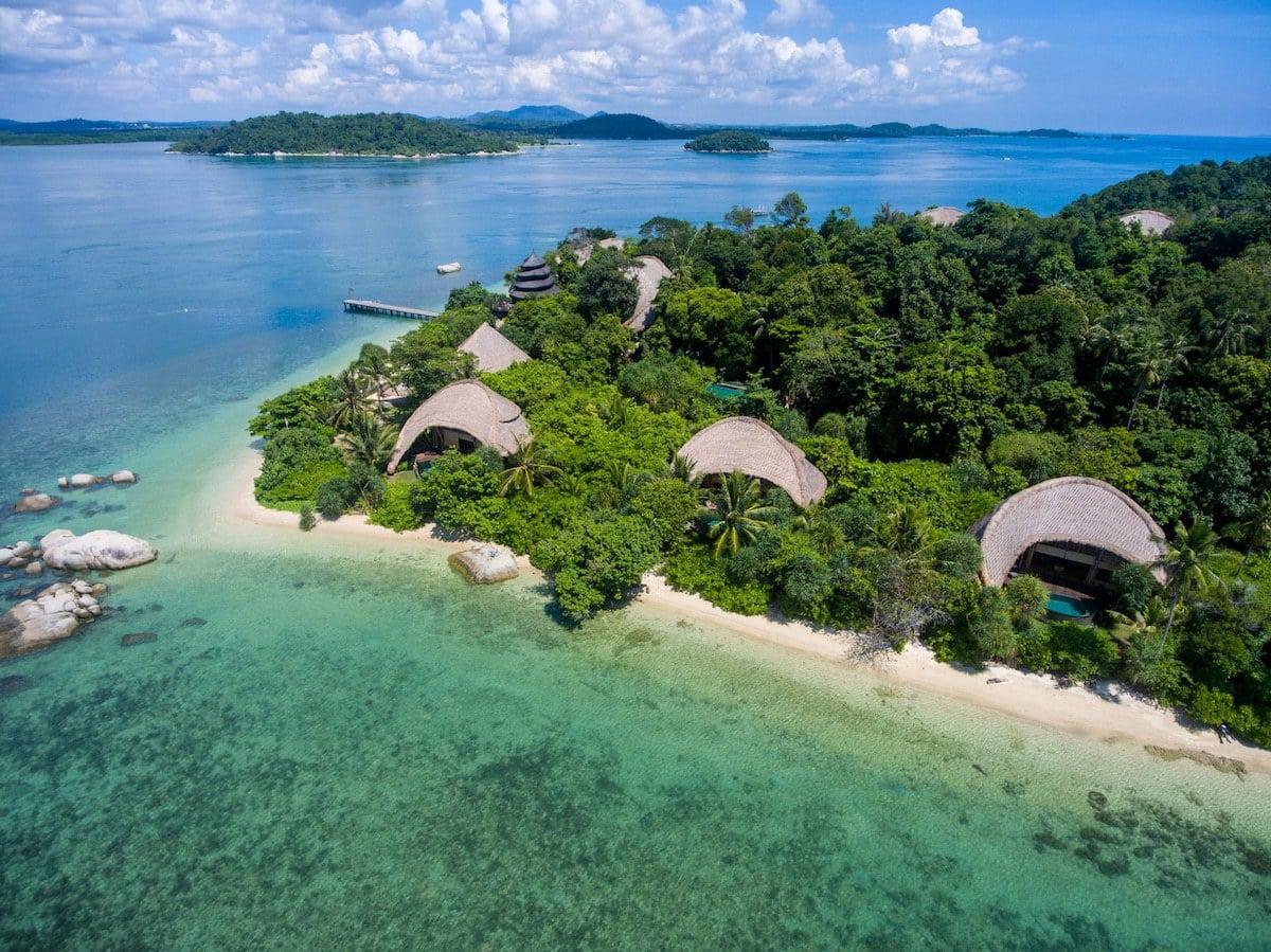 Cempedak Private Island drone of beach villas