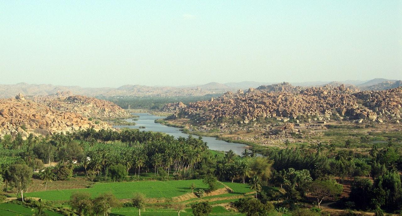 Perspective of Hampi ruins