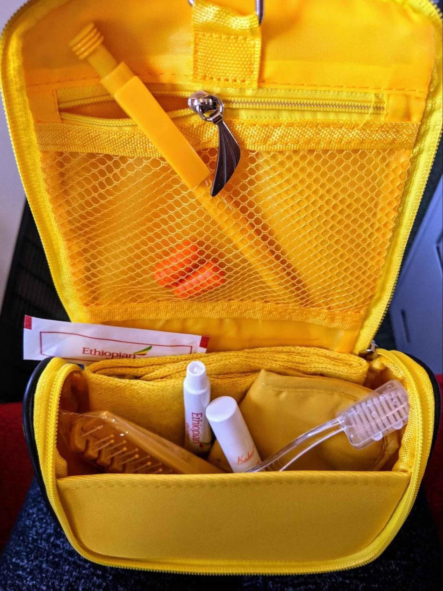 Amenities bag on Ethiopian Airlines