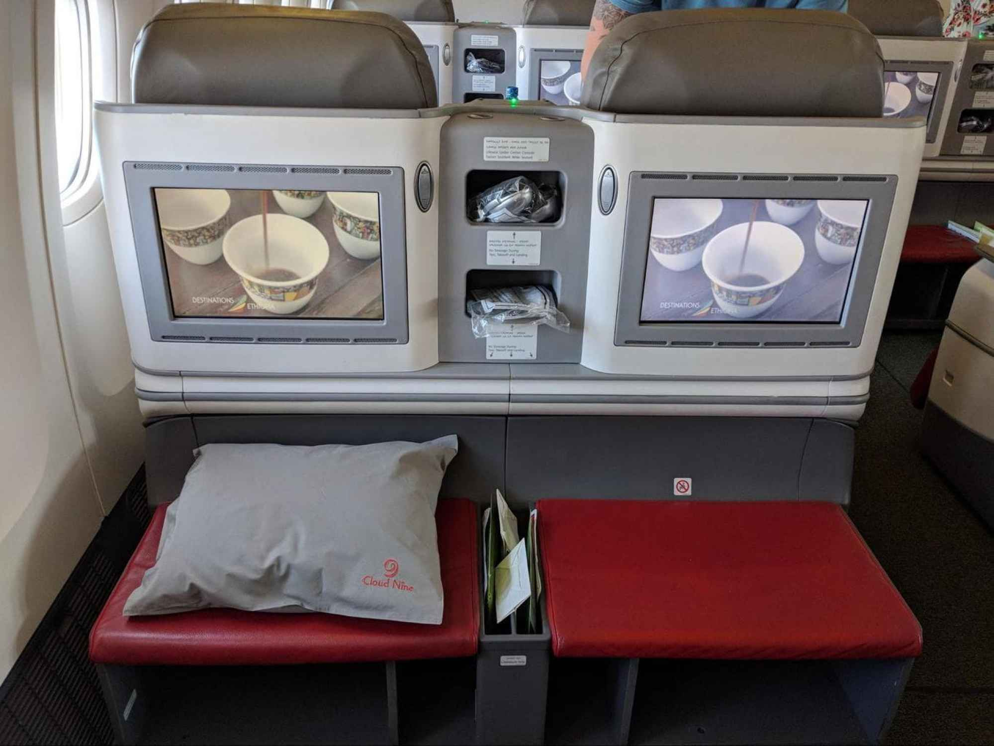Footrest and TV on Ethiopian Airlines Business Class Boeing 777-300 entertainment