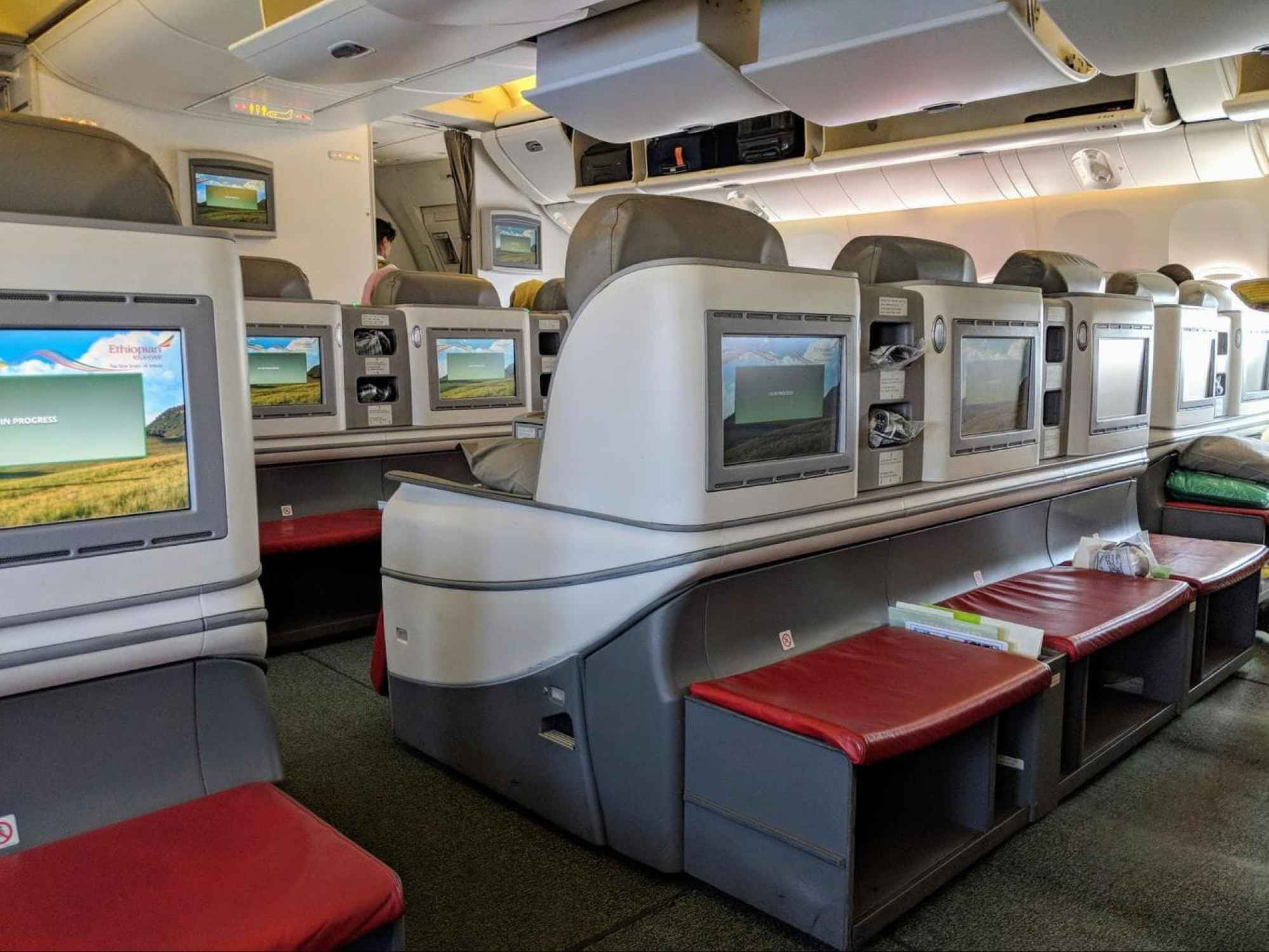 Footrest and TV on Ethiopian Airlines Business Class Boeing 777-300