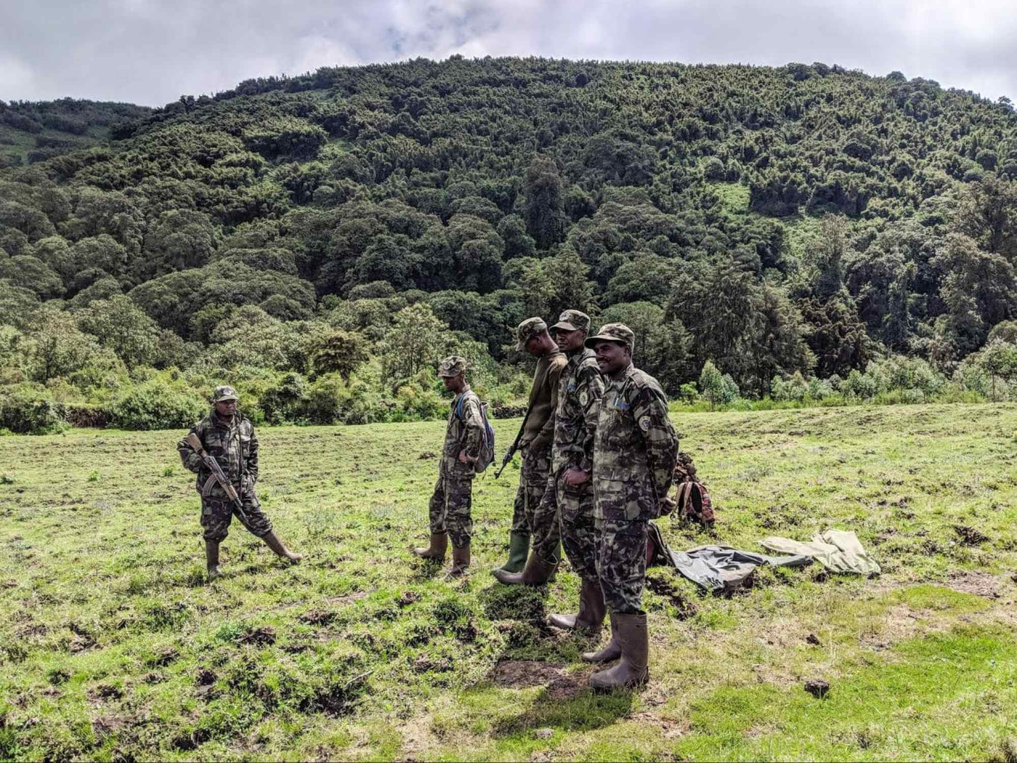 Park rangers and trackers ready to protect mountain gorillas