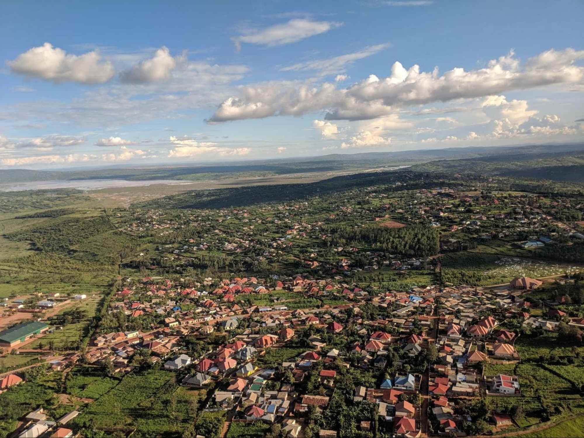 Rwanda from above on the approach to landing in Kigali