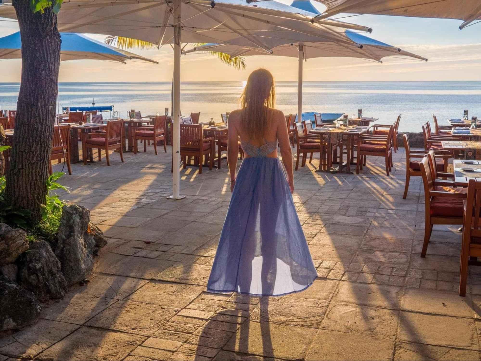 Water's edge restaurant at Castaway Island