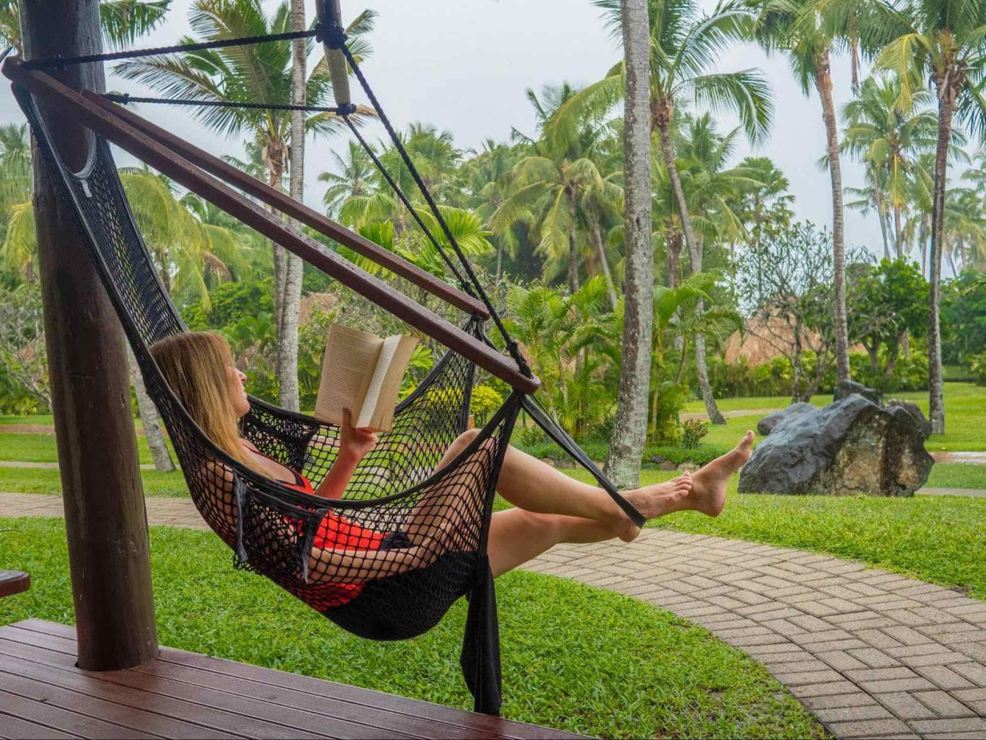 The hammock in our plantation bure at Outrigger Fiji Beach Resort