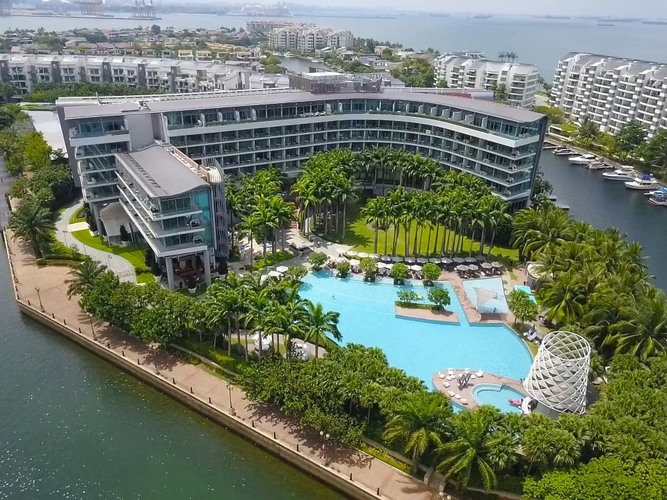 Aerial drone shot of W Singapore on Sentosa