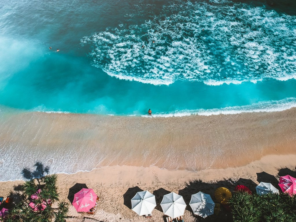 Aerial shot of Atuh Beach in Nusa Penida
