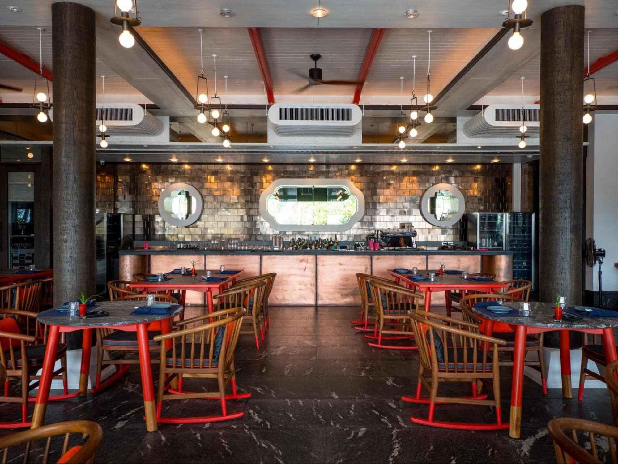 The restaurant interior at Baba Beach Club Phuket
