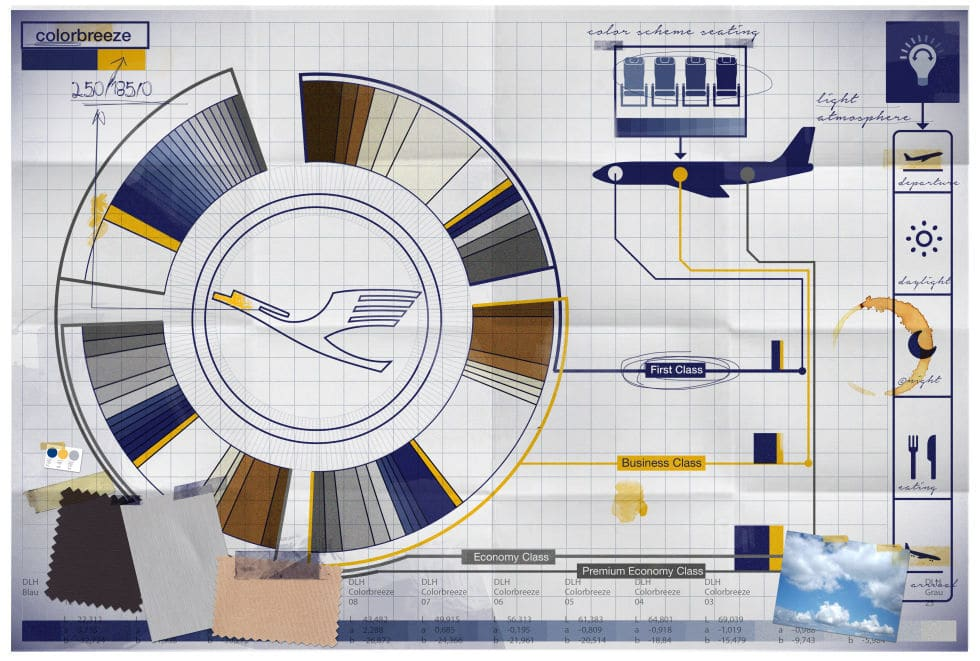 Color palette for Lufthansa's new brand livery