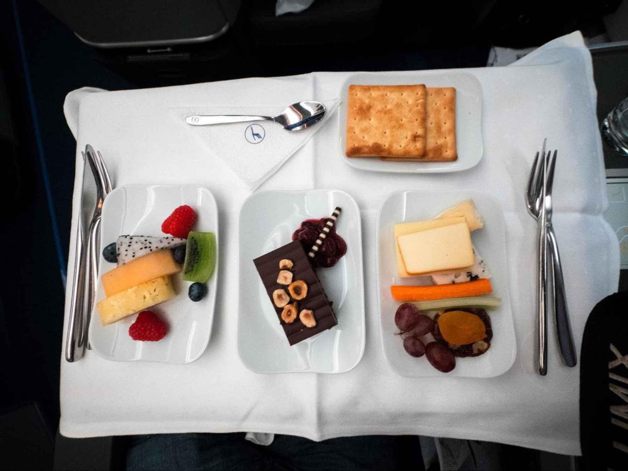 Lufthansa Business Class food - Set of desserts