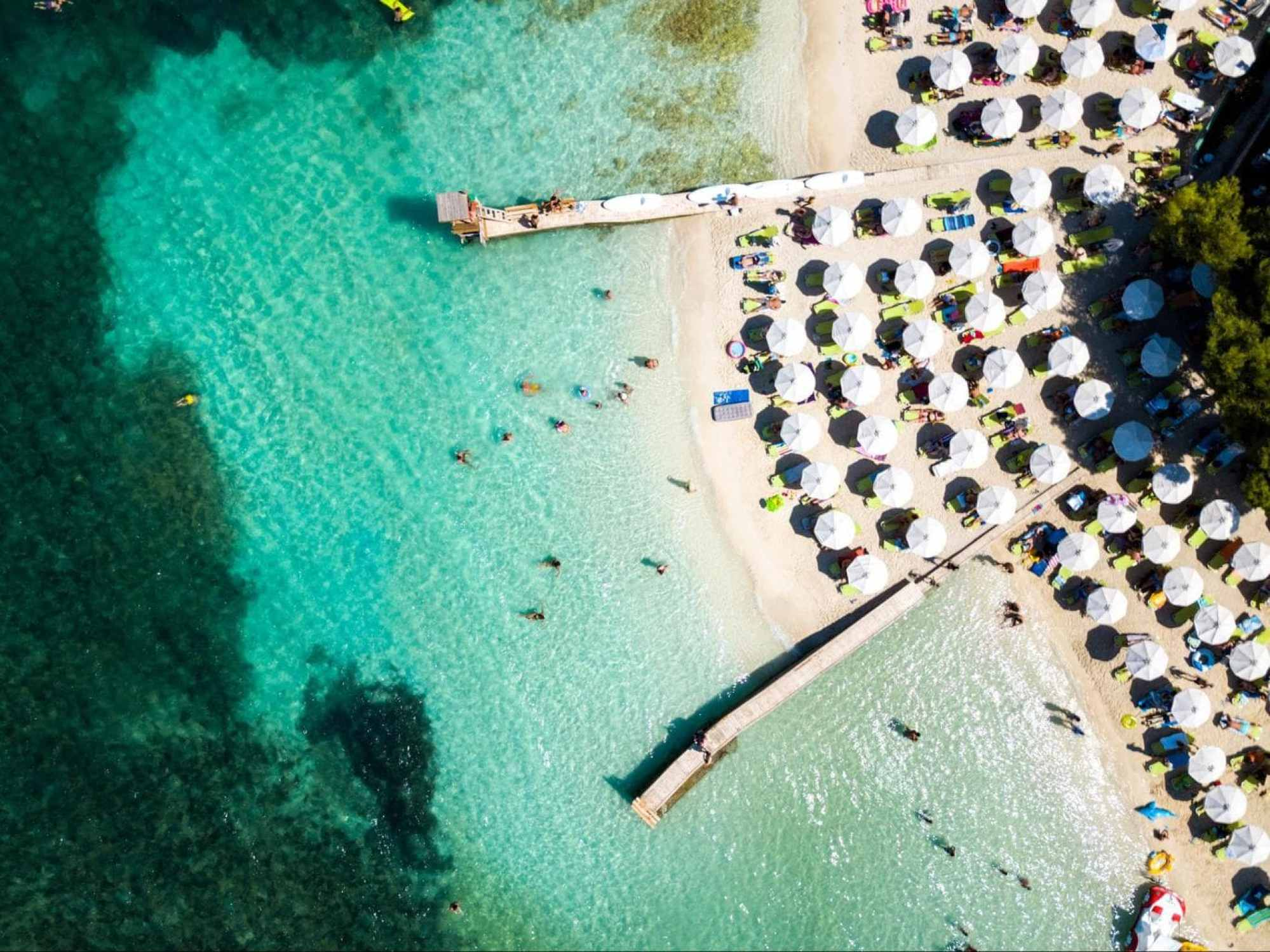 A close-up of the beaches in Ksamil