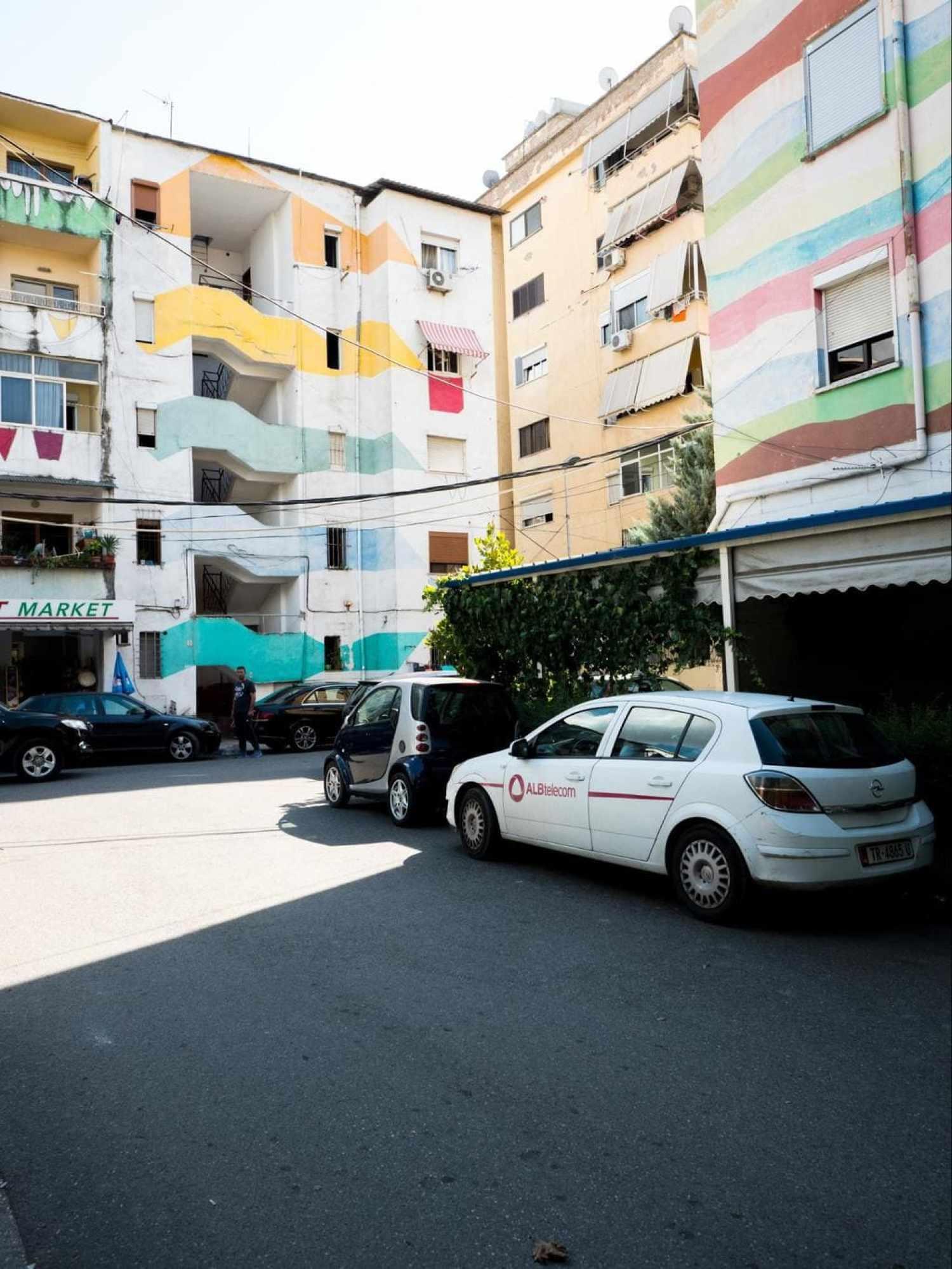 Colorful building facades of Tirana