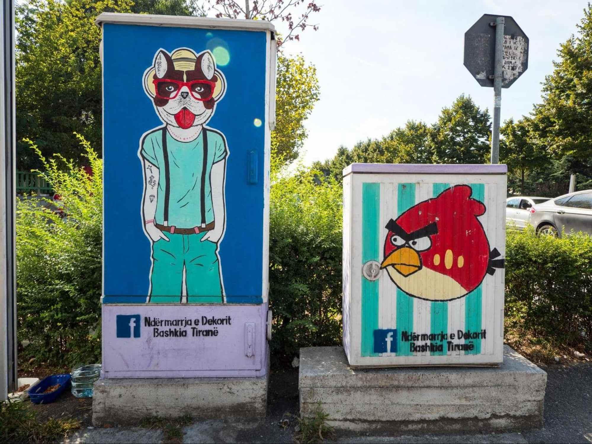 Electric box street art in Tirana