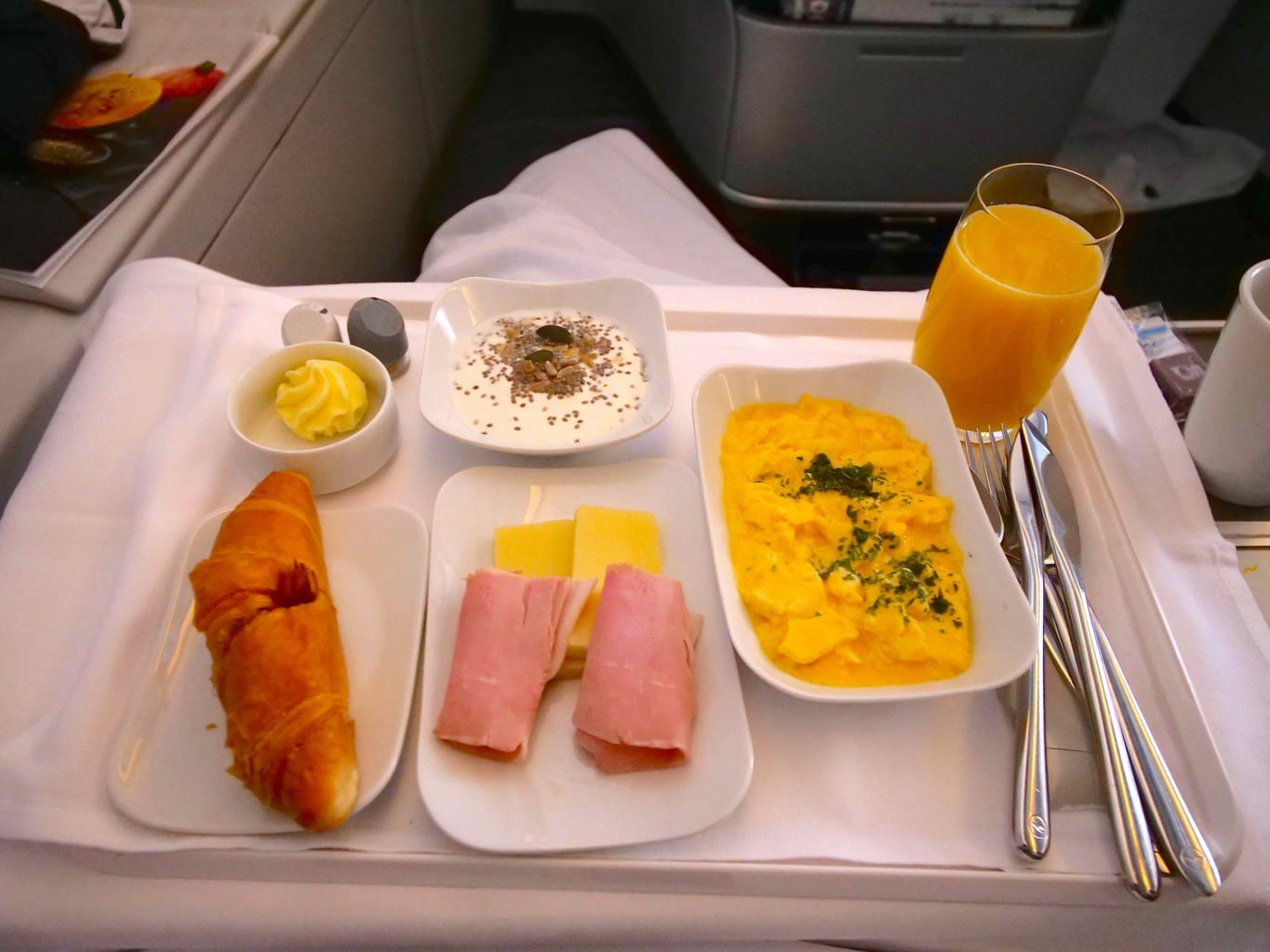 'Breakfast onboard Lufthansa Business Class""