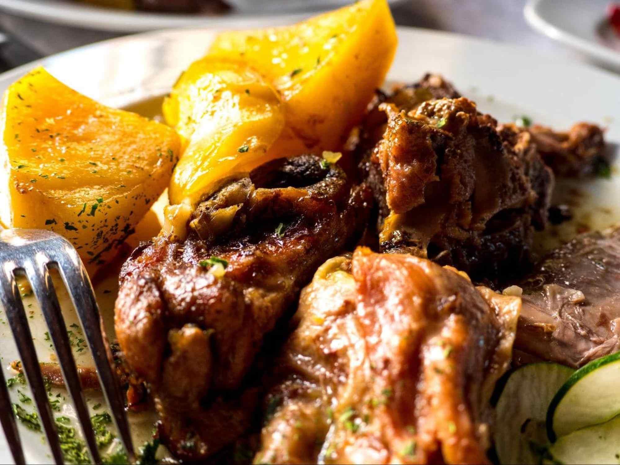 Glistening potatoes and lamb