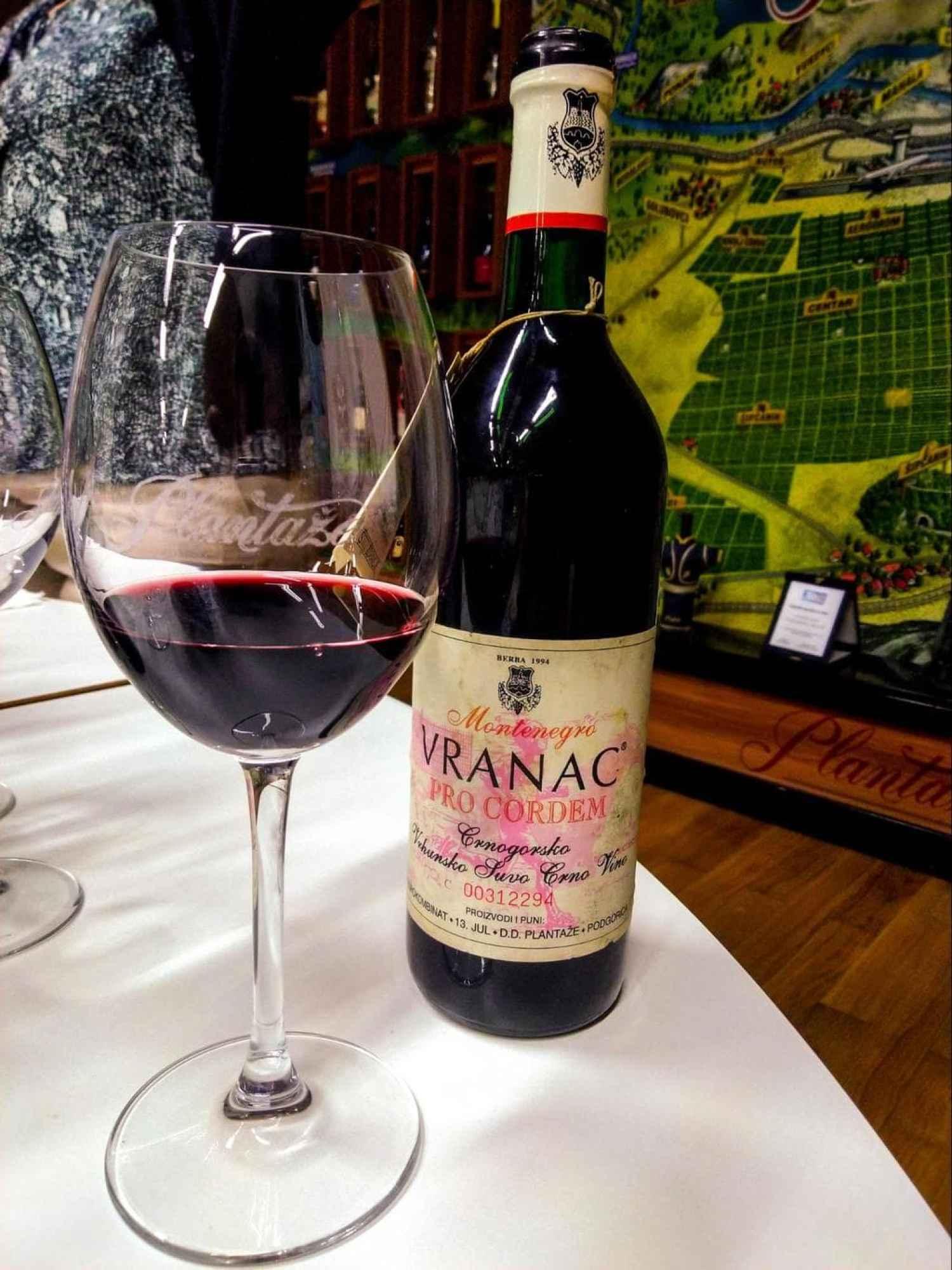 Montenegrin vranac wine