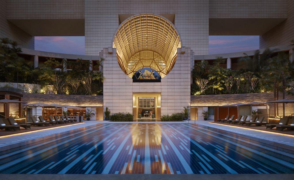 Ritz Carlton swimming pool at night