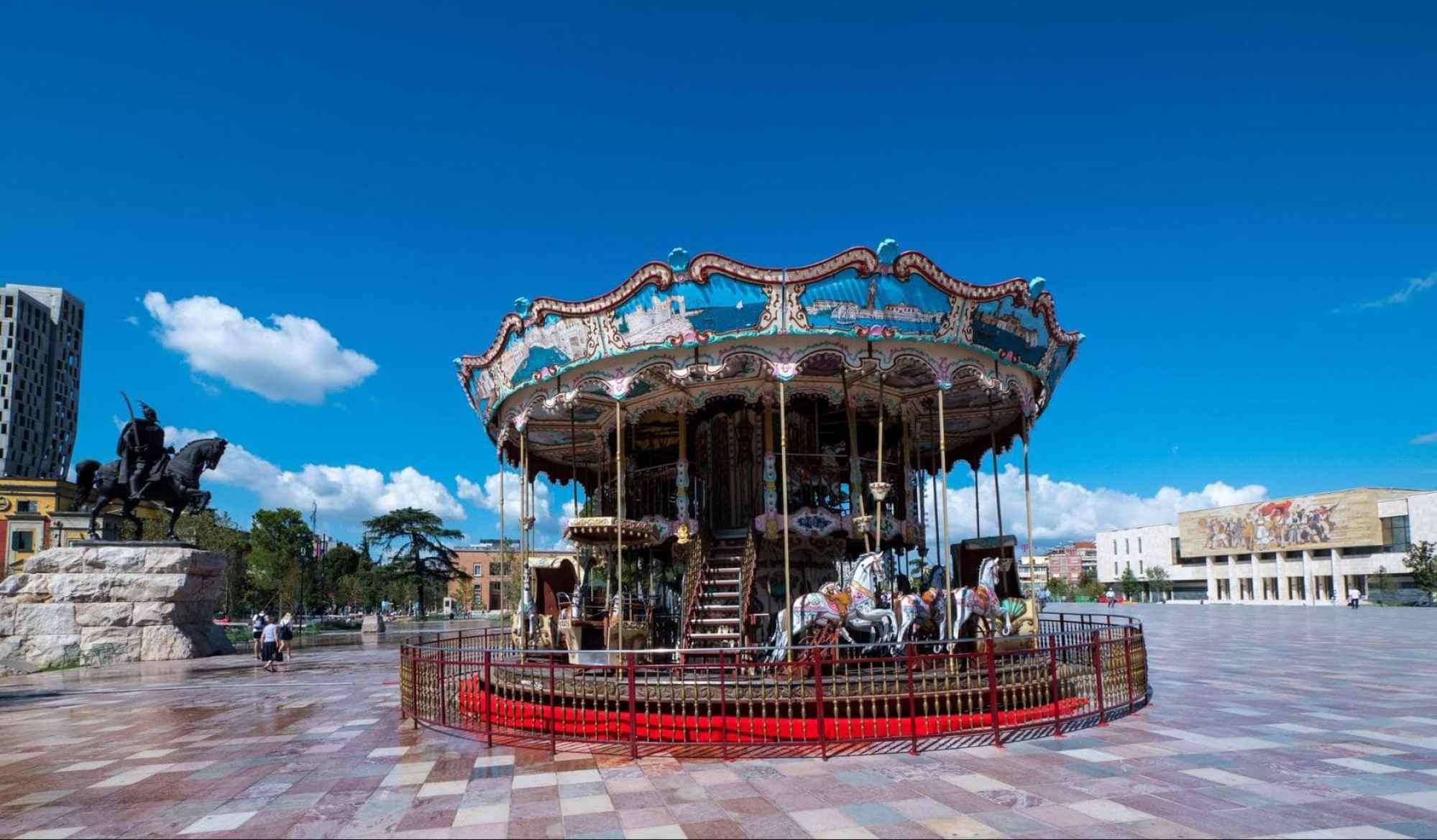 Skanderbeg Square merry go round