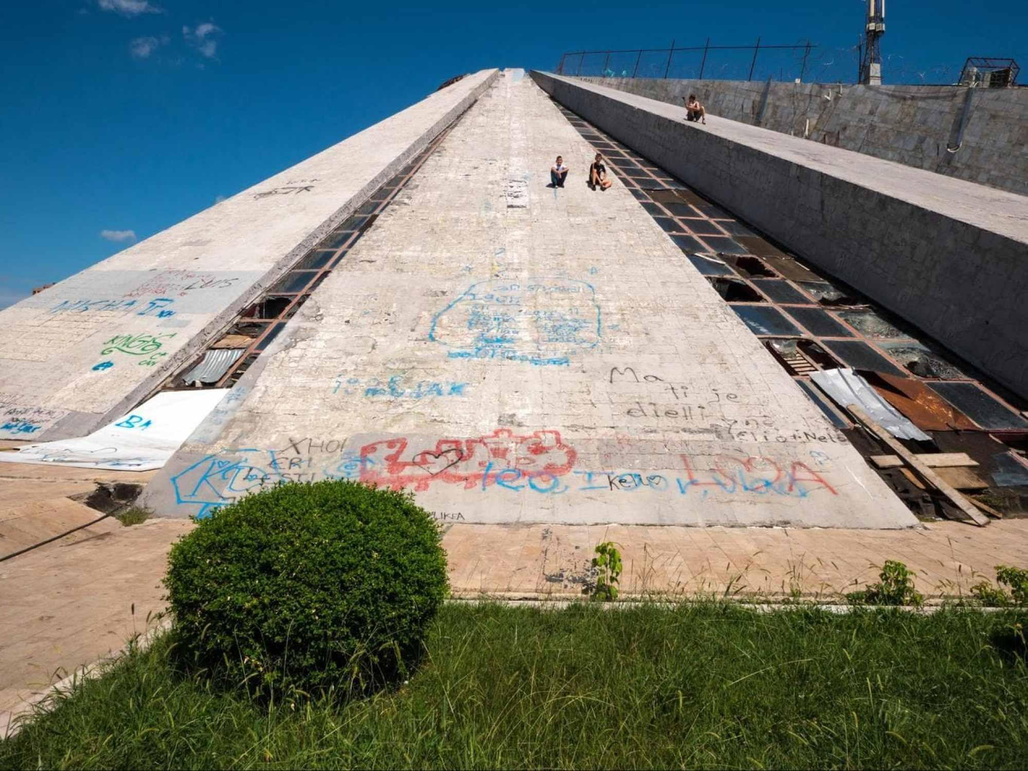 Sliding down the Tirana Pyramid