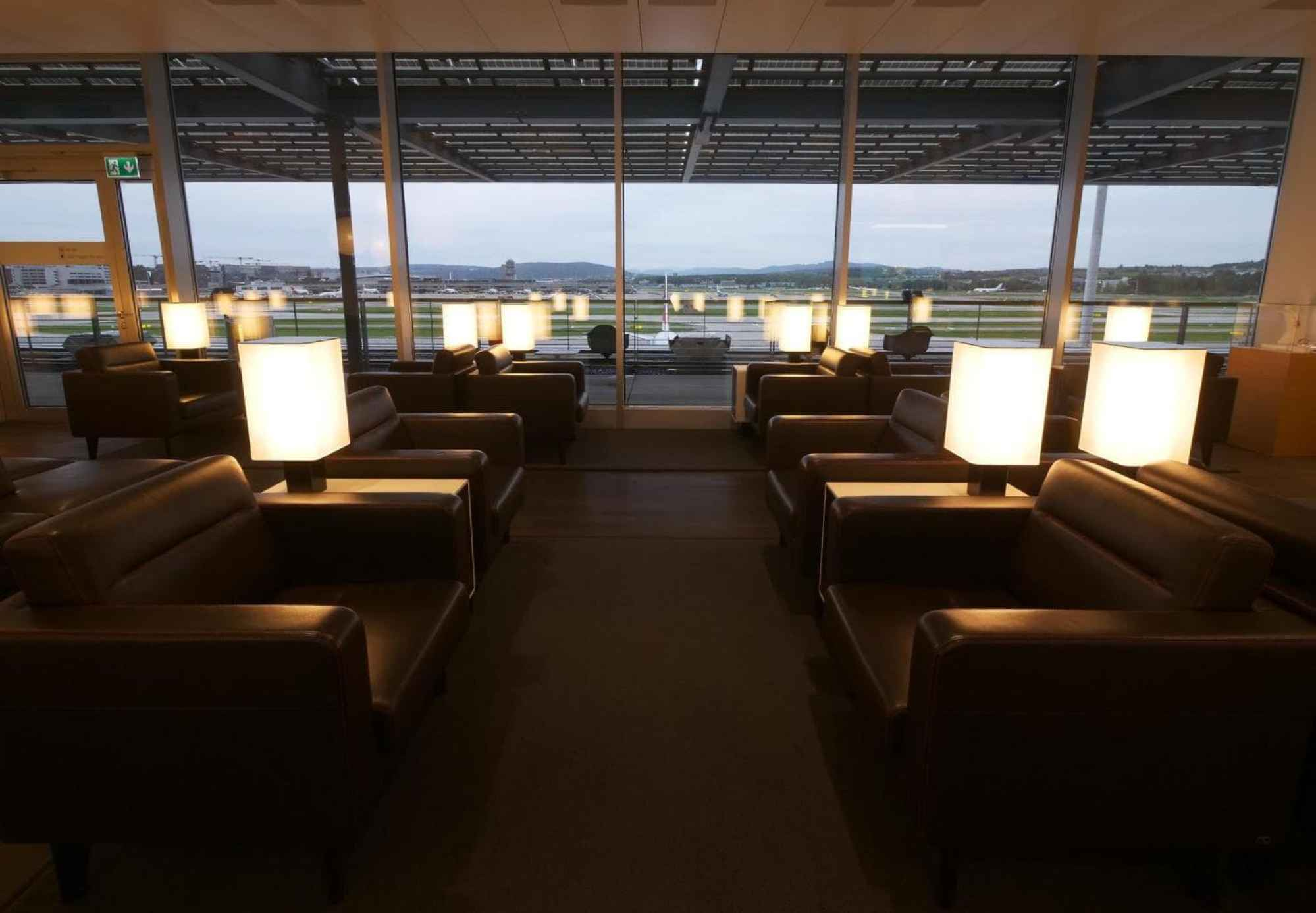 Sofa area in Swiss Business Class Lounge at Zurich airport