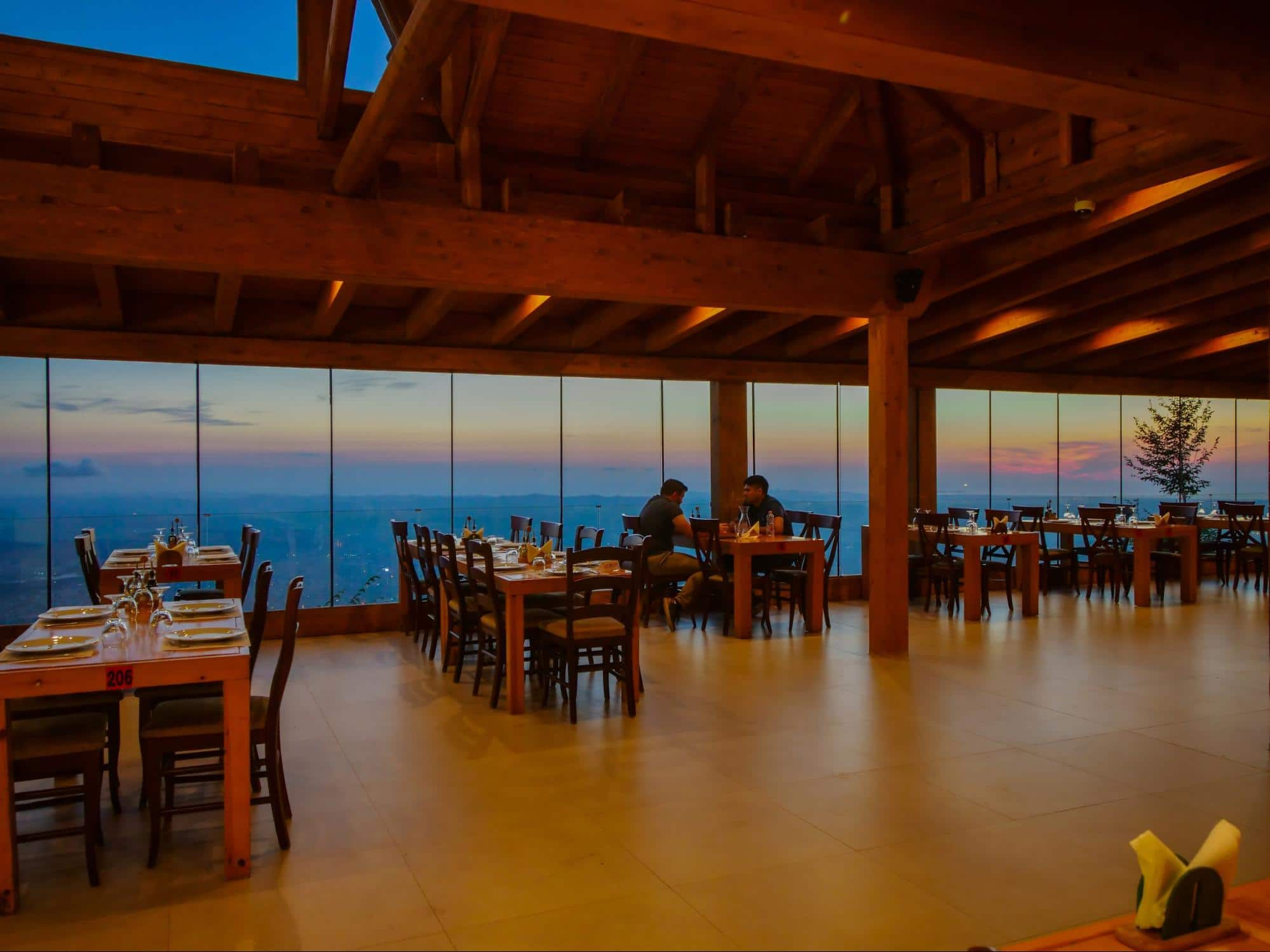 Sunset views from Dajti Mountain edge restaurant