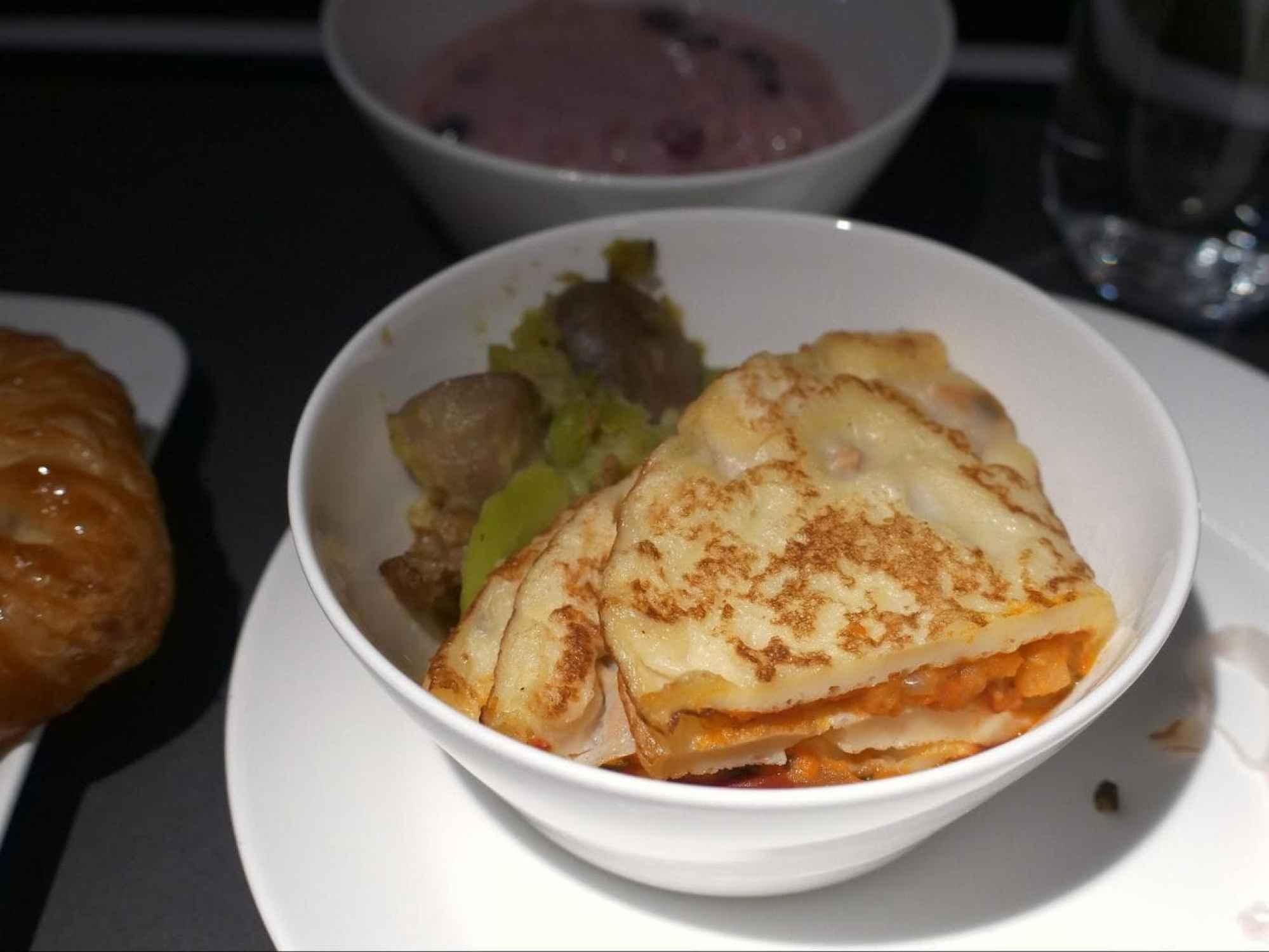 Warm egg dish on Swiss Business Class