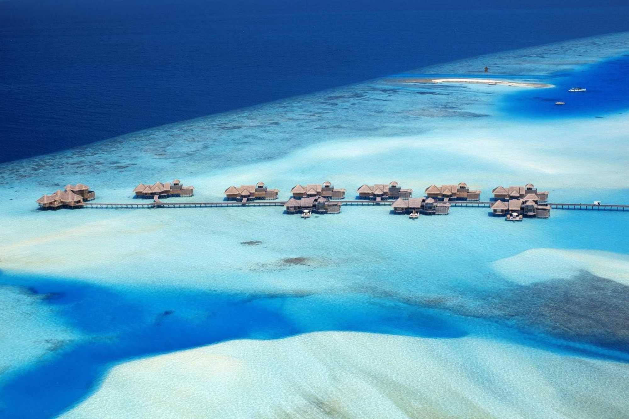 Aerial shot of Gili's jetty - Courtesy of Gili Lankanfushi