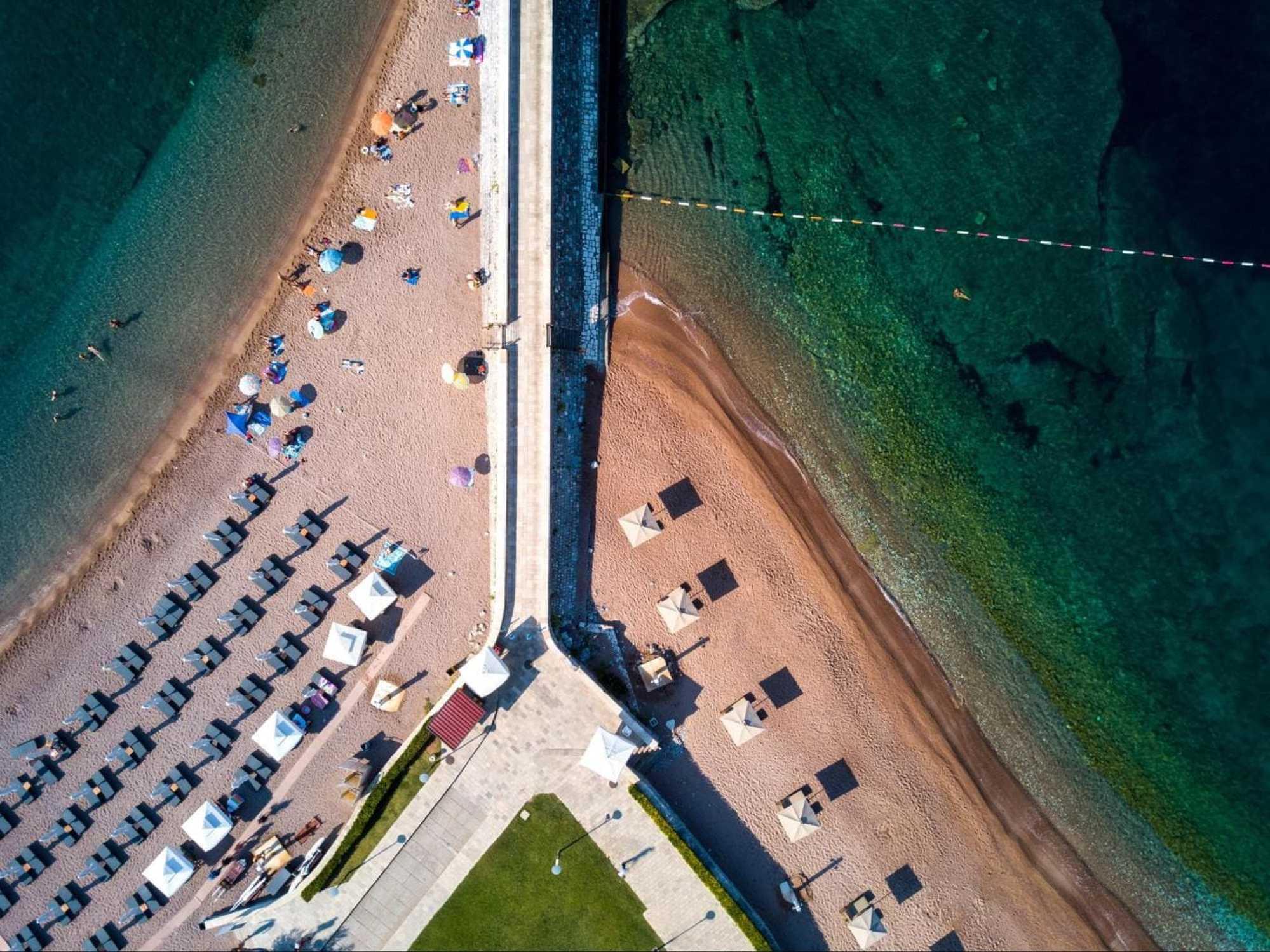 Close up of Sveti Stefan beaches