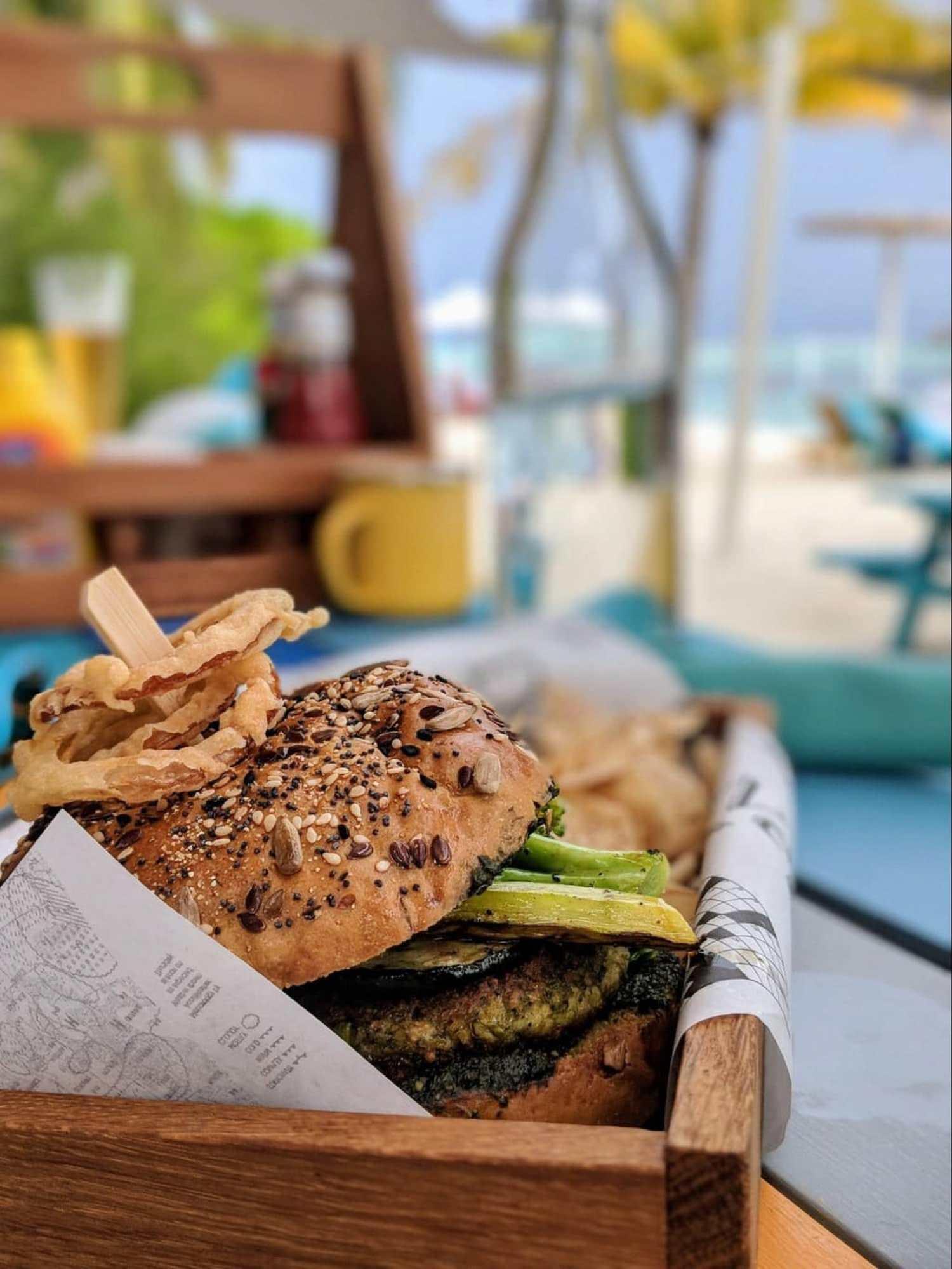 Hamburger at Lagoon Bar