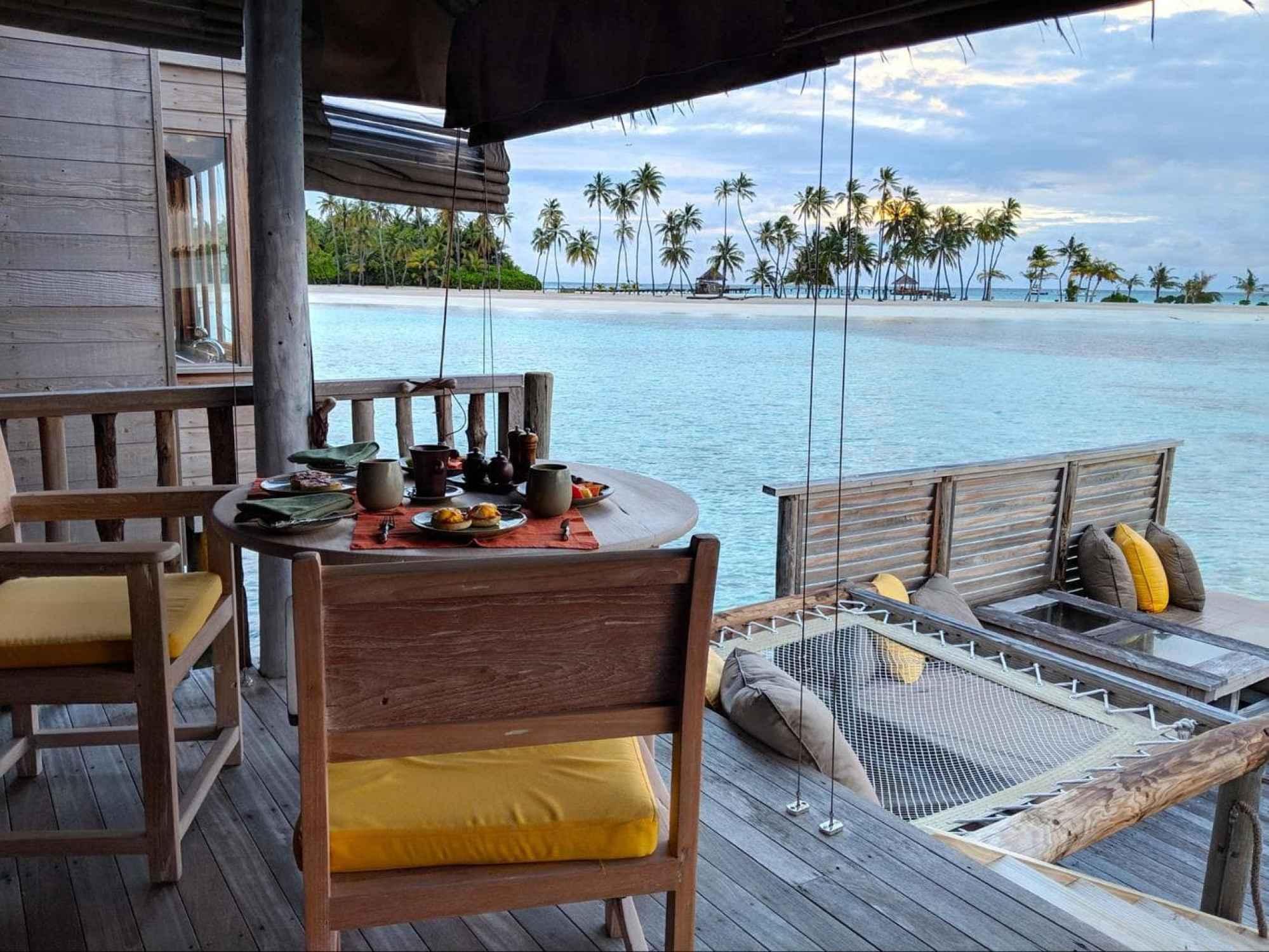 Open air living room at Gili Lankanfushi villas