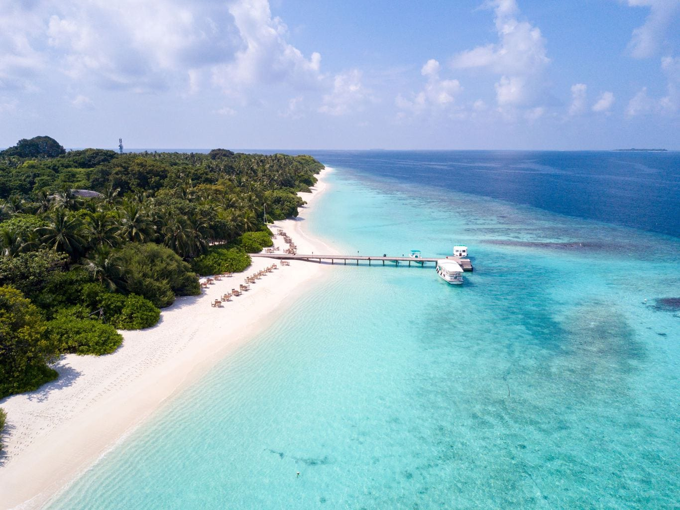 Aerial shot of the beach at Soneva Fushi