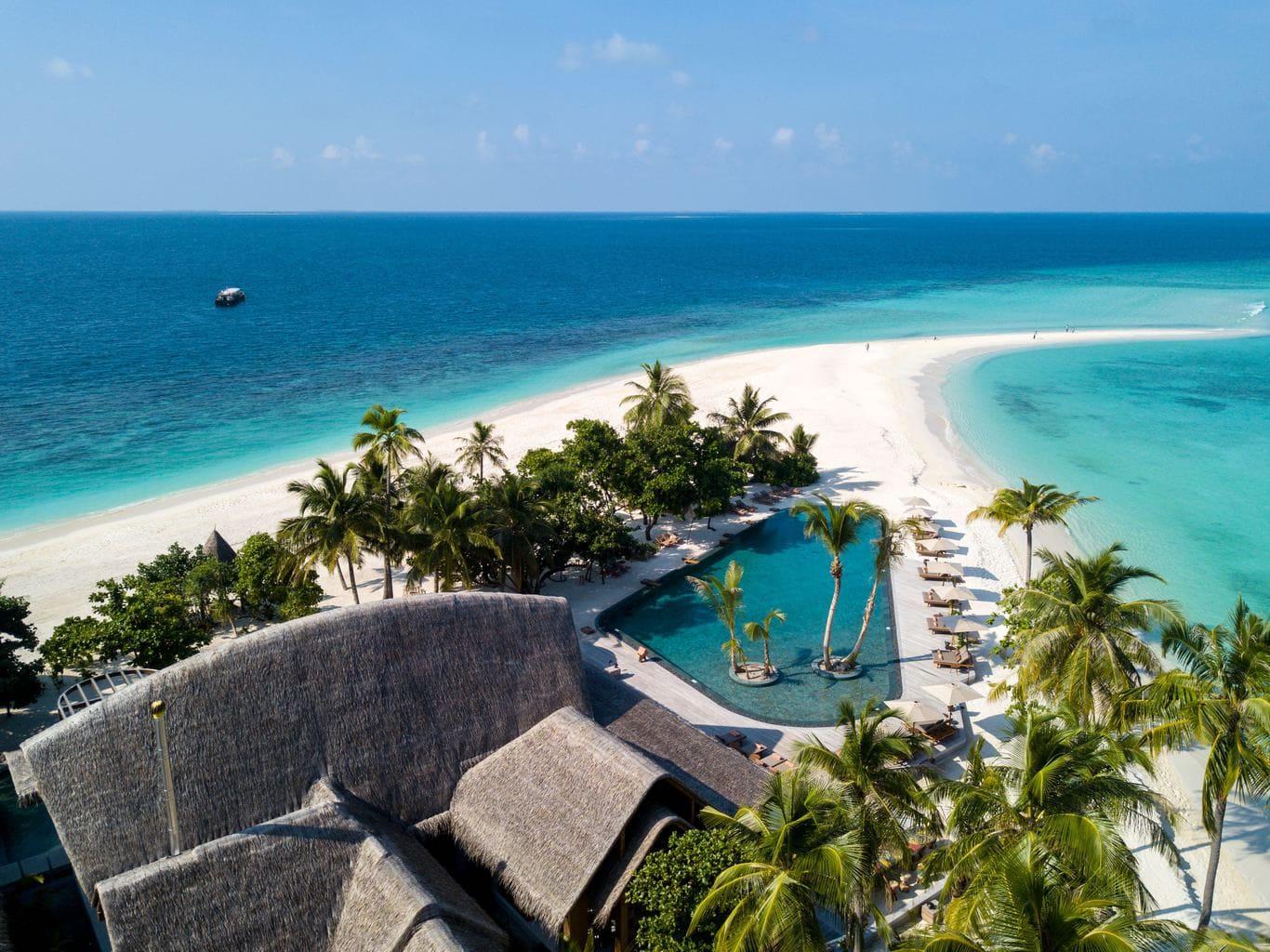 Aerial shot of Joali Maldives