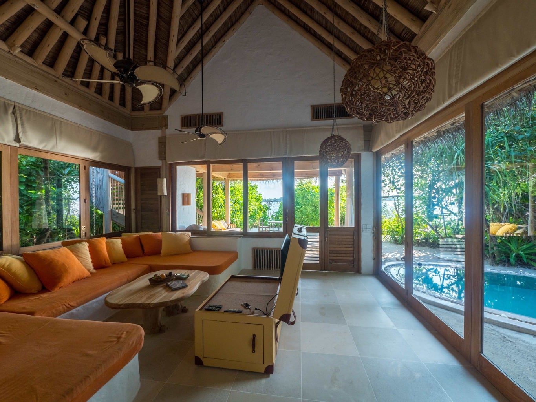 Rustic chic interiors at Soneva Fushi