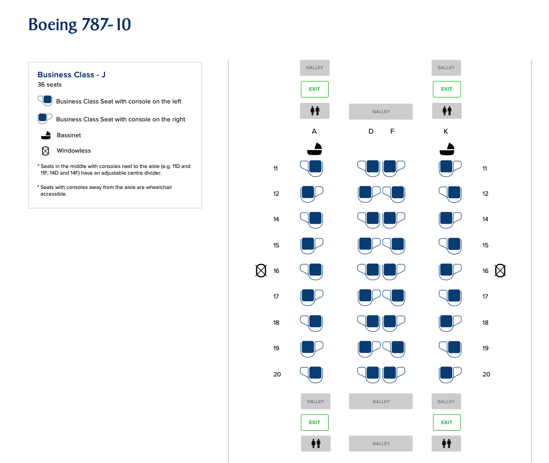 Seat map on Singapore Airlines B787-10 Business Class