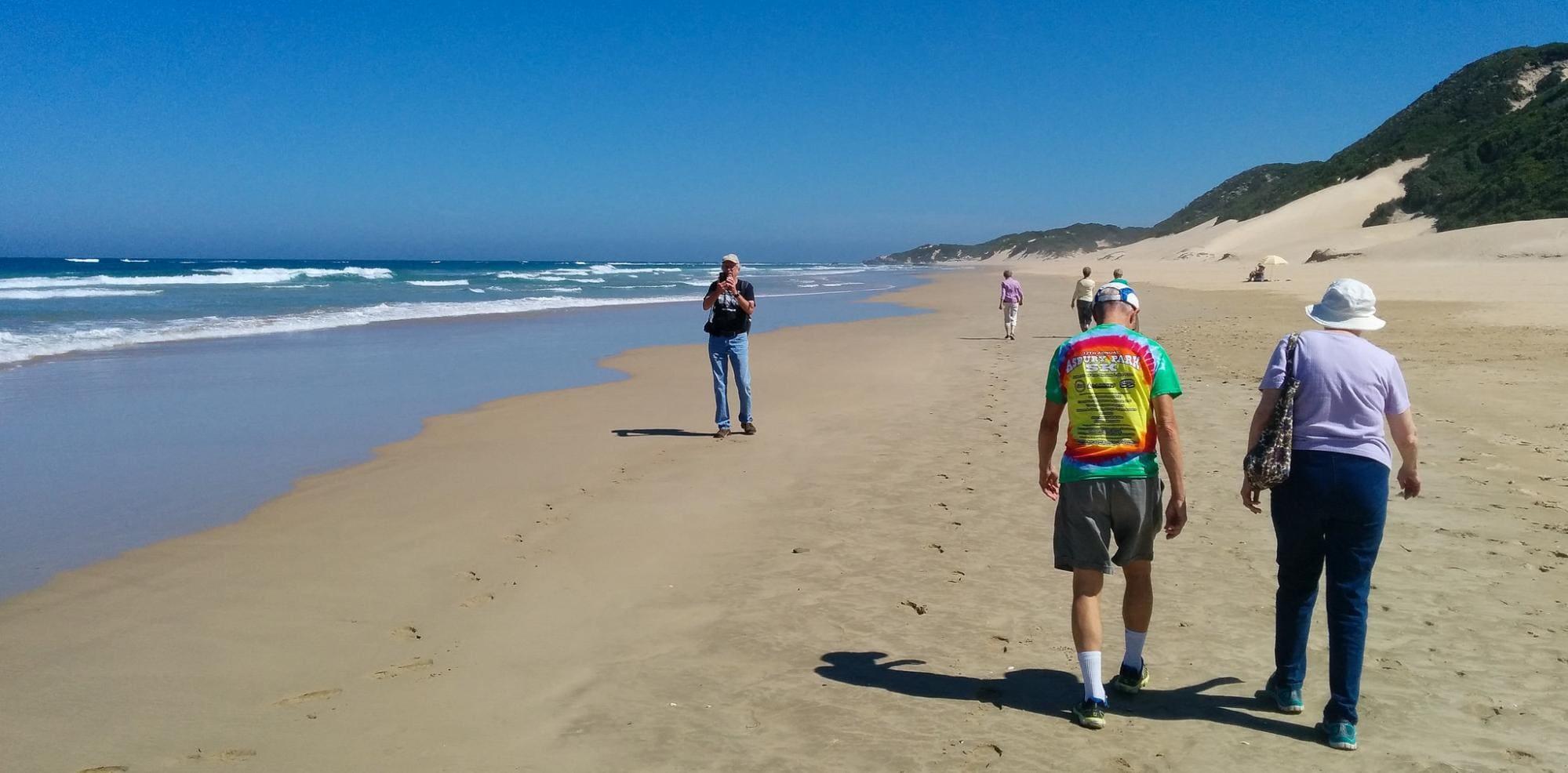 Taking a guided stroll on Kariega Beach