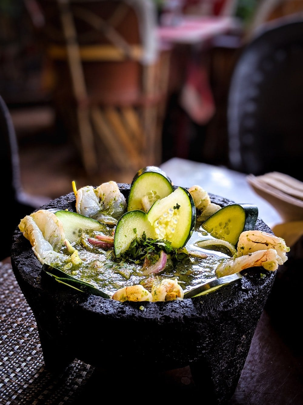 Molcajete is a dish that is served on a mortar