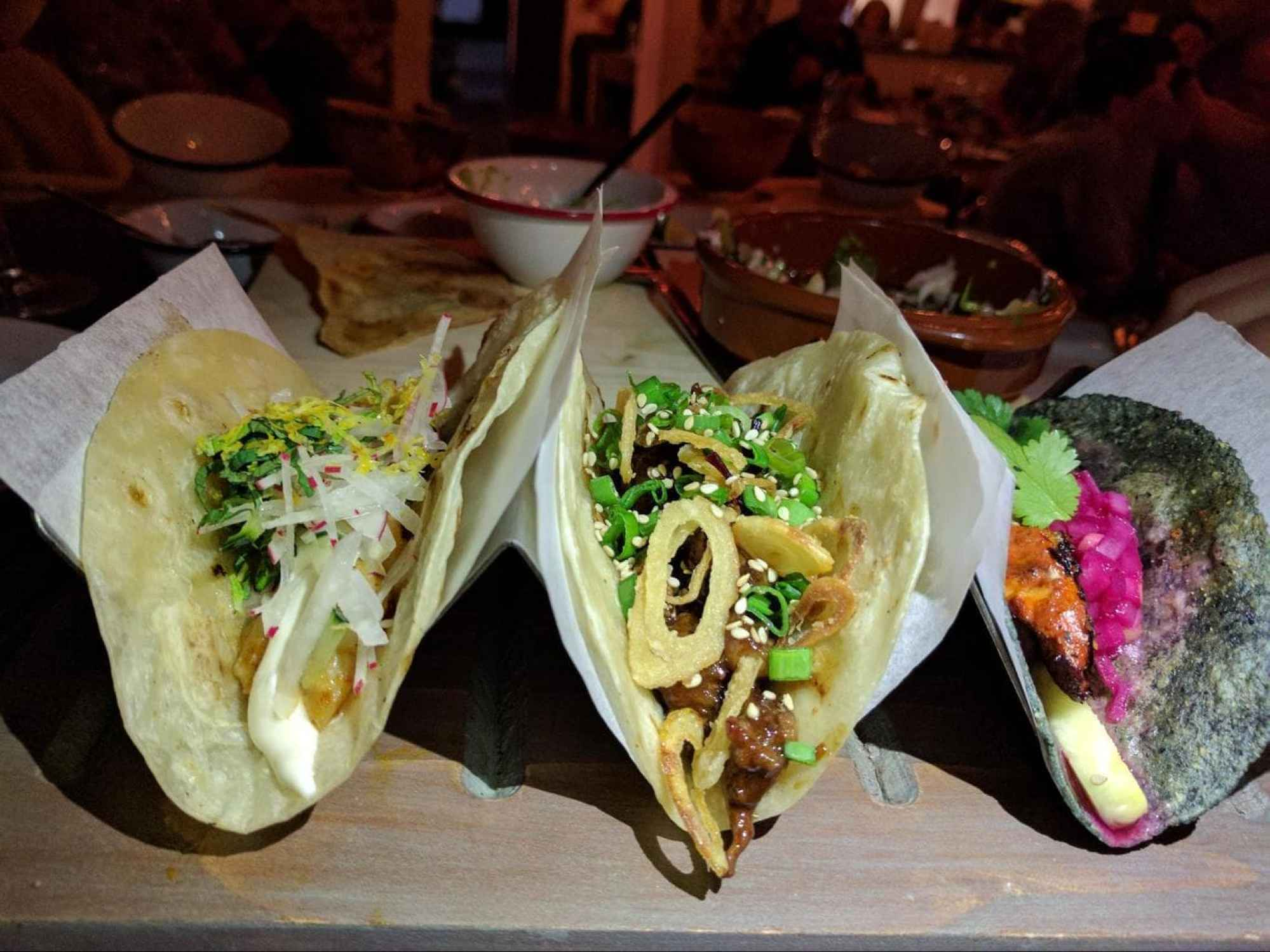 Typical wavy tray to serve tacos