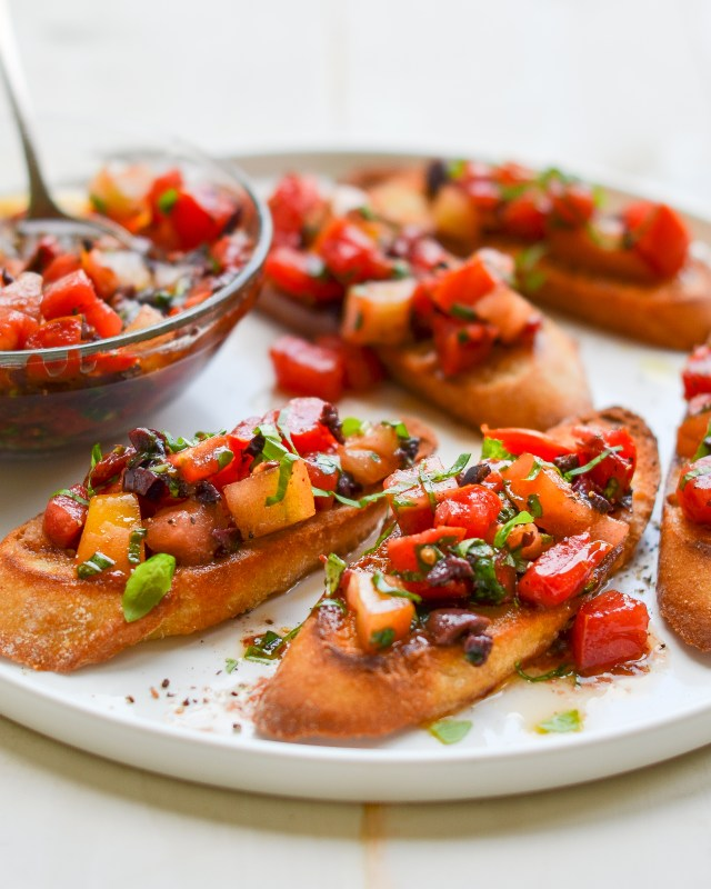 Bruschetta with Heirloom Tomatoes, Olives and Basil