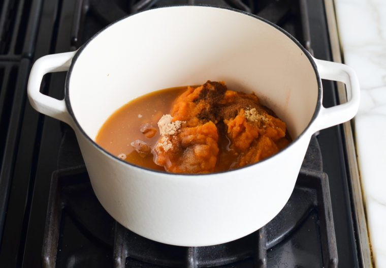 pumpkin butter ingredients in pot