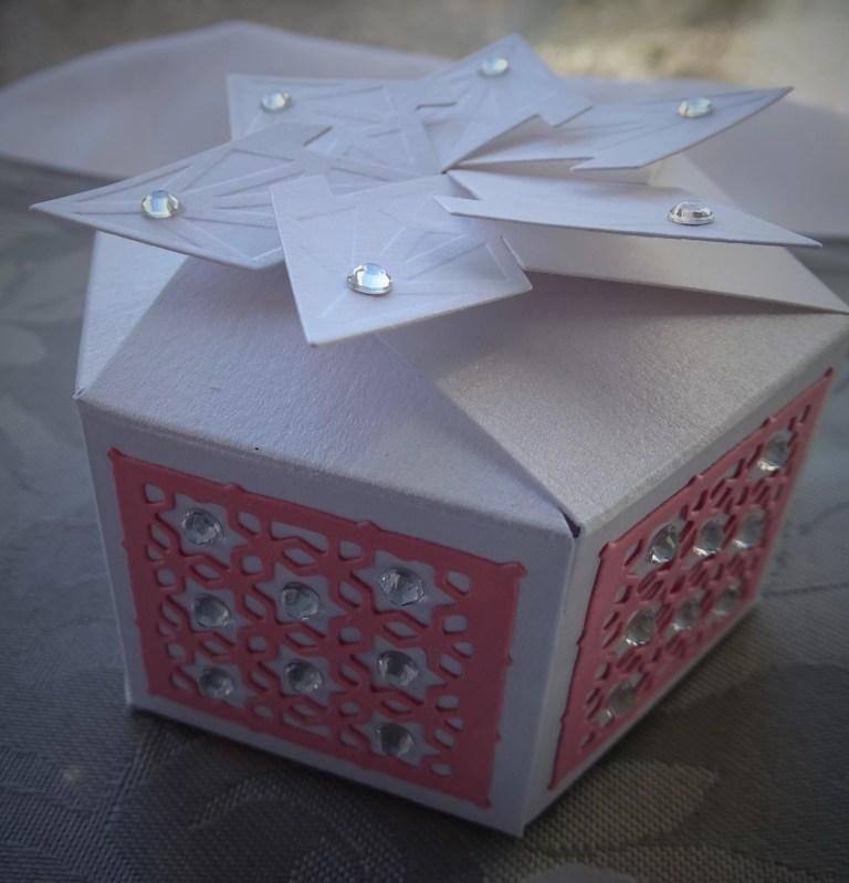 Pink And White Hexagonal Box