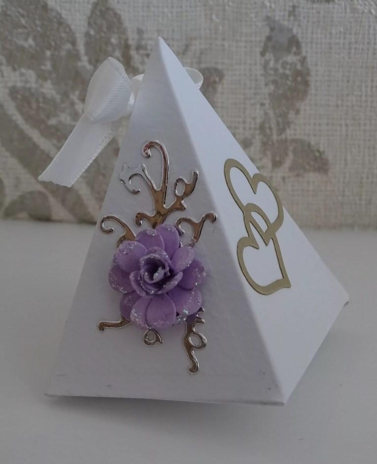 White And Purple Small Triangular Box