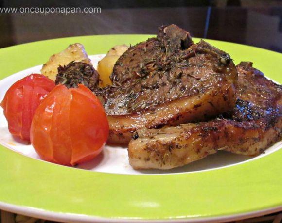 Rosemary roast lamb chops and potatoes