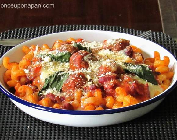 Pasta with lamb meatballs and beans