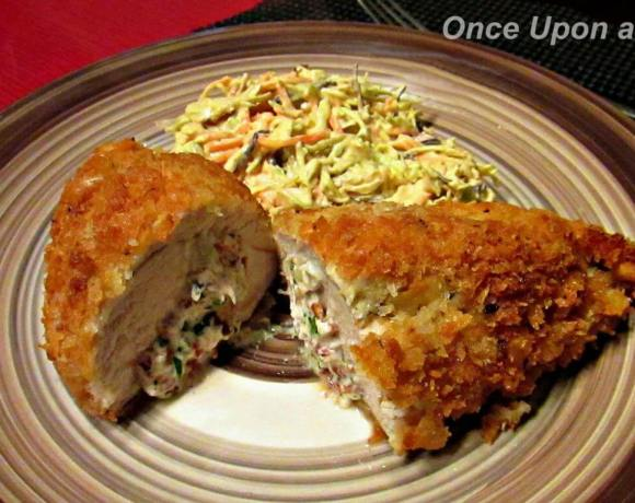 Crispy chicken Kiev with garlic butter