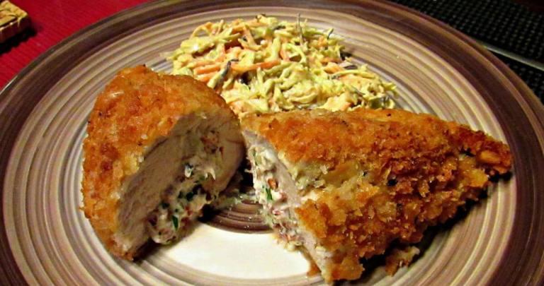Crispy chicken Kiev with garlic butter