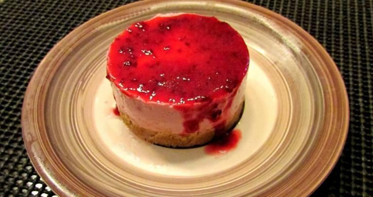 No bake mini plum cheesecake