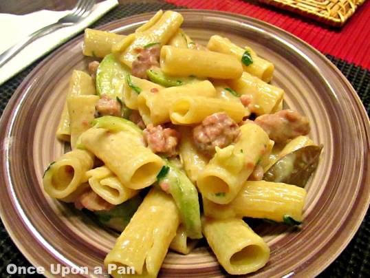 Pasta with Italian sausage and zucchini