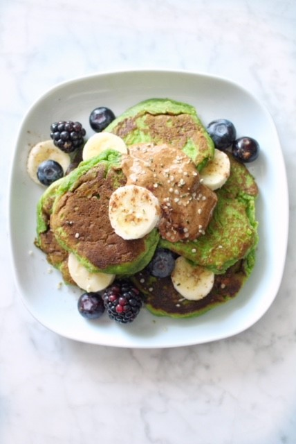kale and blueberry pancakes