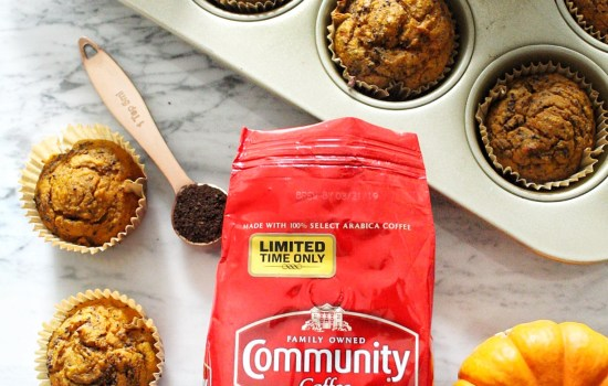 Healthy Spiced Pumpkin Blender Muffins with Community Coffee