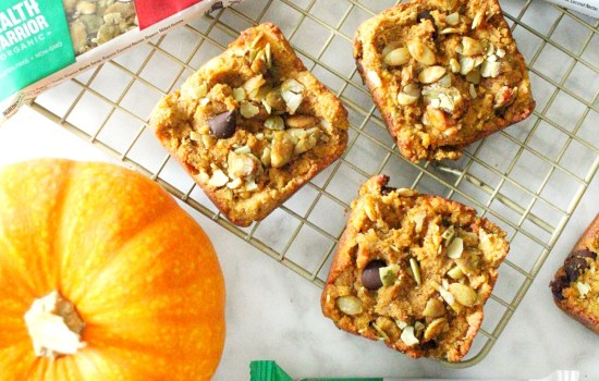 Pumpkin Chocolate Chip Cookie Bars with a Maple Sea Salt Pumpkin Seed Bar Topping